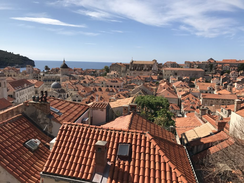 Red rooftops of Dubrovnik as viewed from the city walls