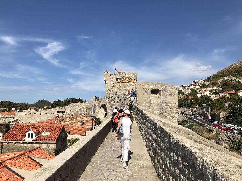 Walking along the city walls in Dubrovnik