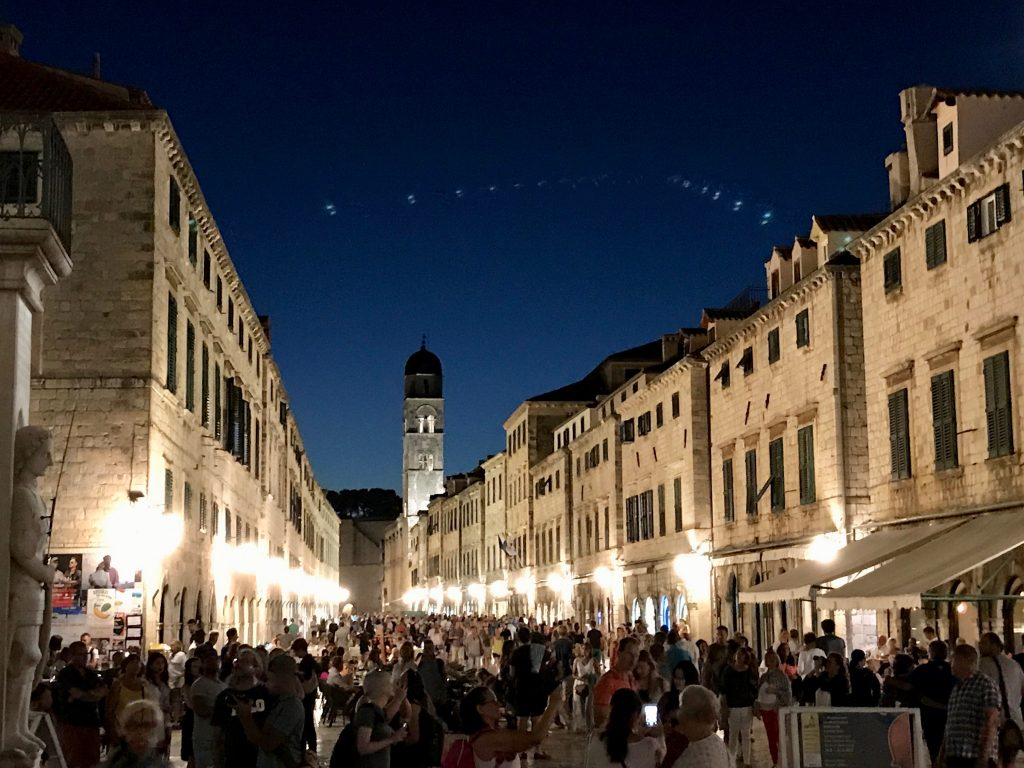 a night scene of Dubrovnik ol town with street lamps illuminating