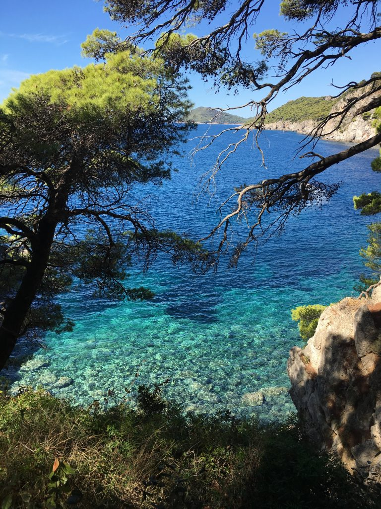 View of the blue azure waters around Kolocep island
