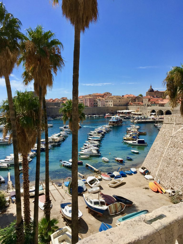 the harbour in Dubrovnik featuring fishing boats