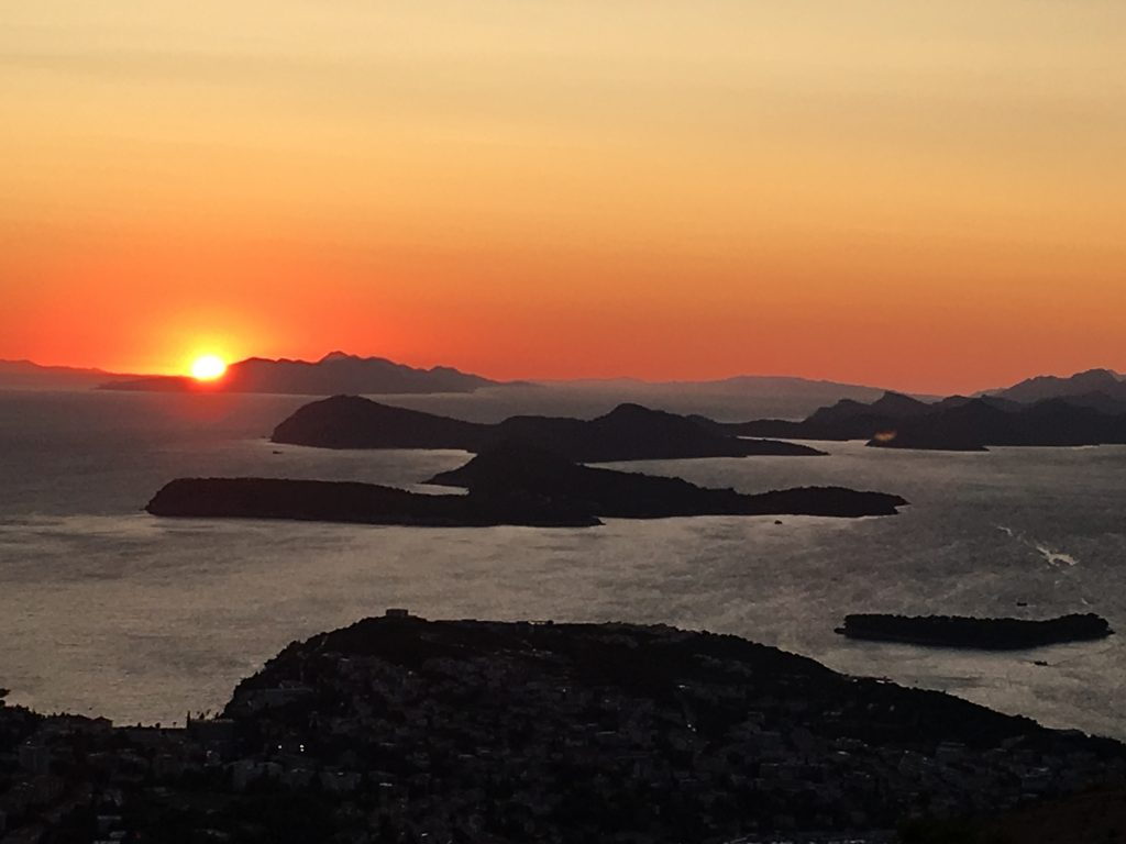 the sunset as viewed from Dubrovnik over to the Elaphiti islands