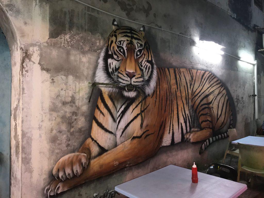 Street art of a tiger in Penang