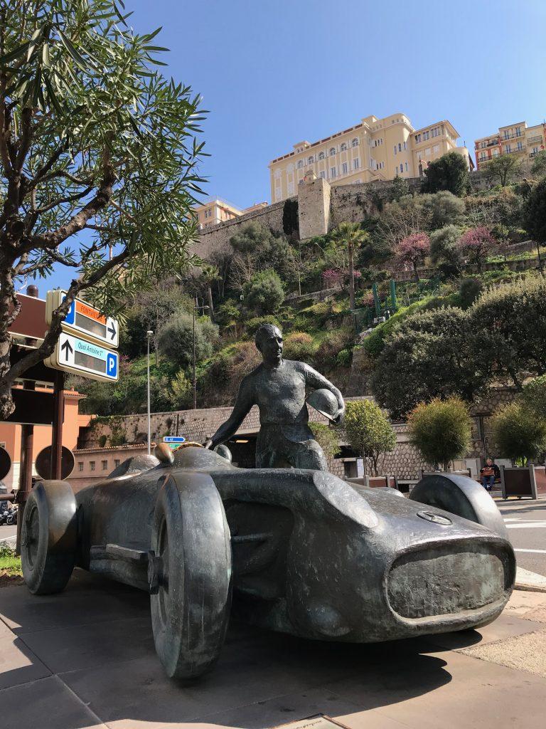 A Grand Prix racing car monument located on the Grand Prix circuit in Monaco, French Riviera
