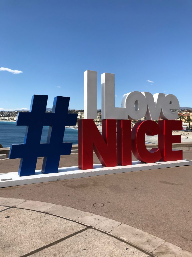 The I Love Nice sign on La Promenade des Anglais in Nice, French Riviera