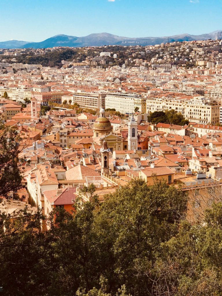Looking down from Castle Hill across the rooftops of Nice in the French Riviera
