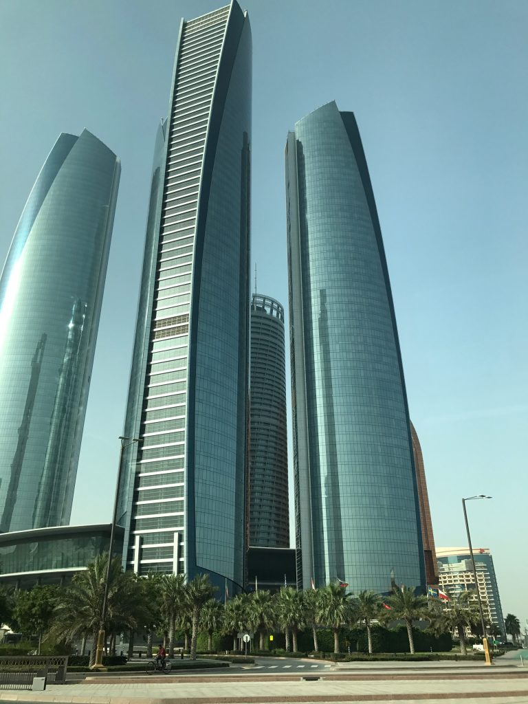 The view of the five towers that make up the Etihad Tower complex