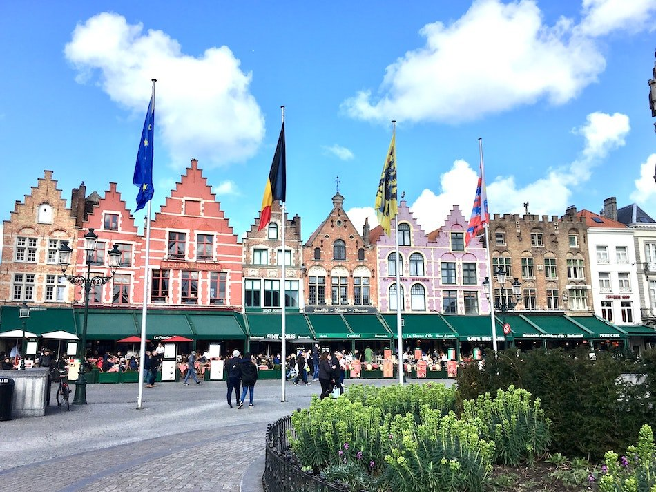 colourful buildings in a town square