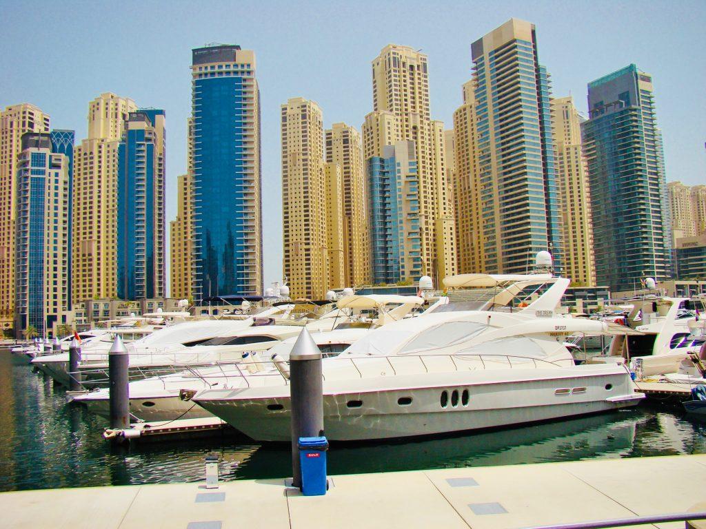 dubai marina with boats