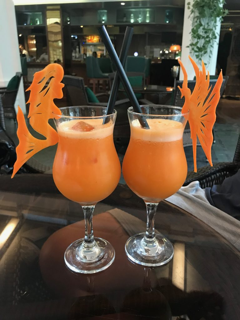 Orange coloured cocktails