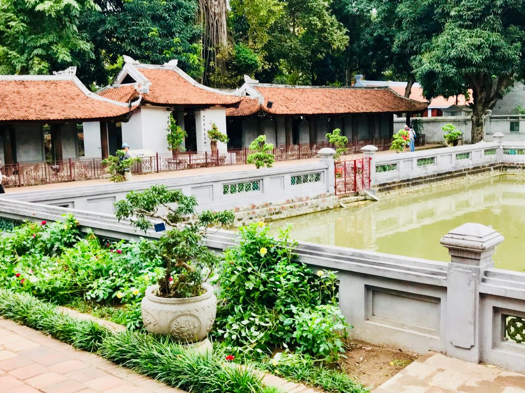 Temple of Literature outdoor lake in Hanoi