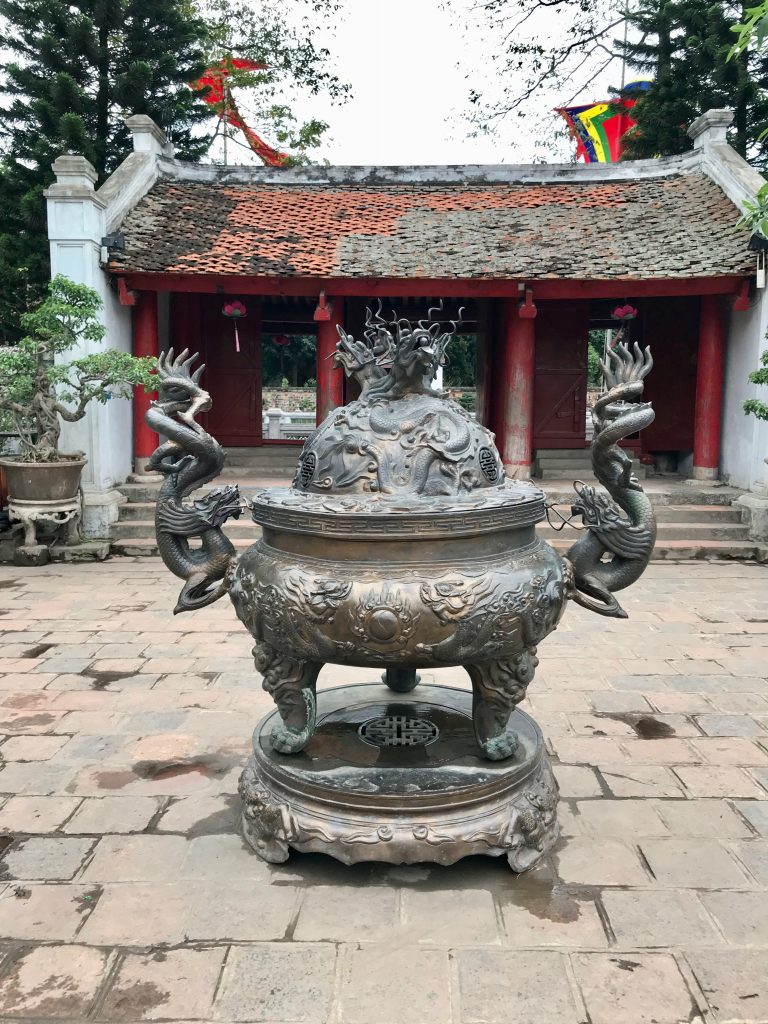 Large metal urn in front of the Temple of Literature