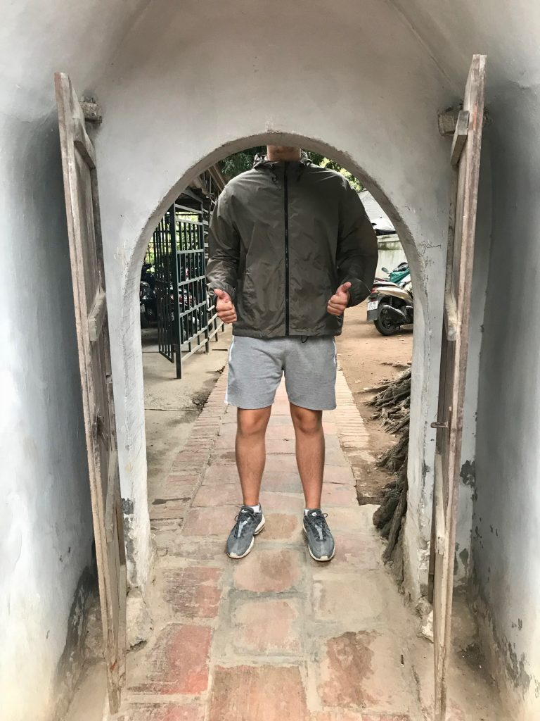 Dominic showing how short the doorframes are in Hanoi