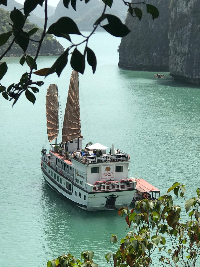 Dragons's Pearl Junk moored in the waters of Bai Tu Long Bay