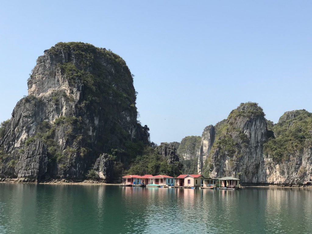 View of traditional fishing village in Bai Tu Long Bay