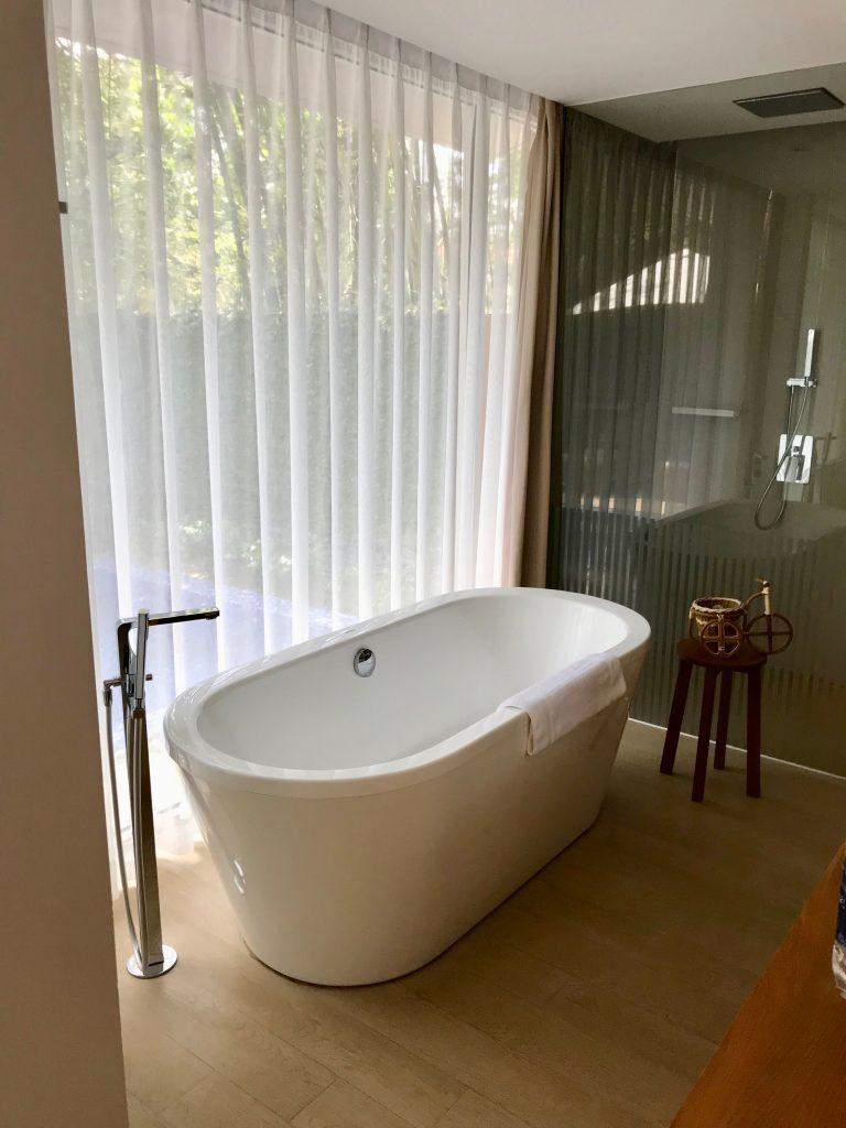 Villa bathroom with freestanding bath
