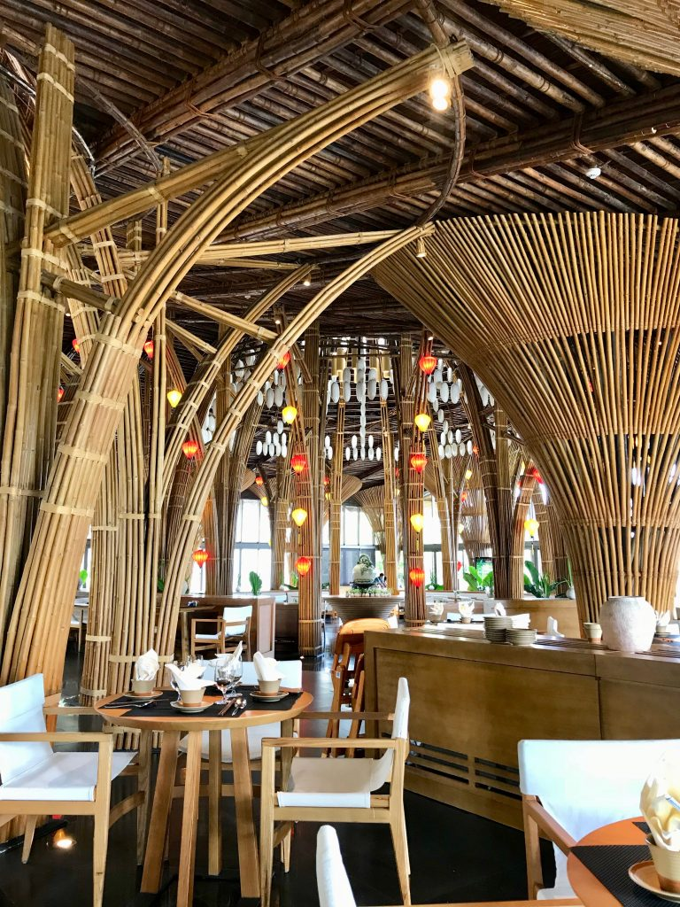 Restaurant with bamboo designs and hanging lanterns