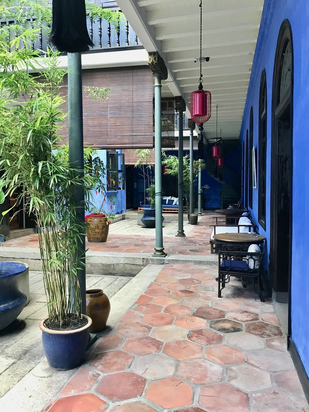 courtyard at the blue mansion