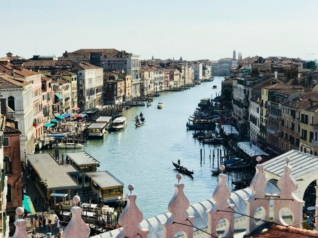 rooftop view from the T Fondaco dei Tedeschi store of grand canal Venice.