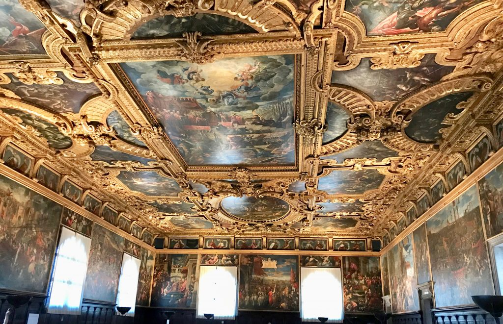 A ceiling in the Doges Palace, Venice.