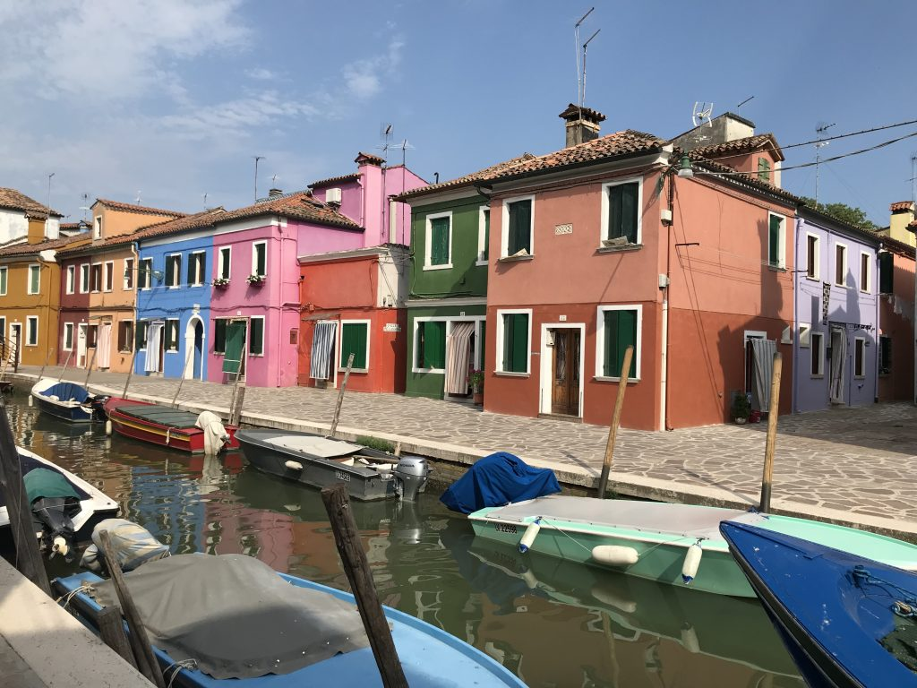 Burano coloured houses situated along a canal