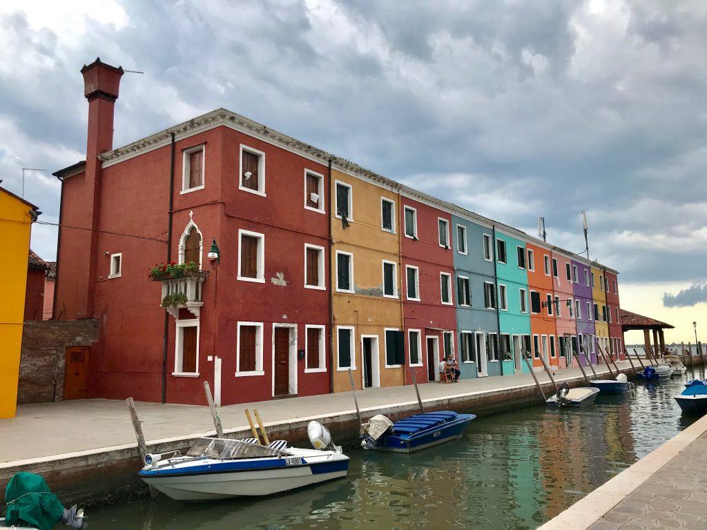 Multi coloured houses in burano, venice