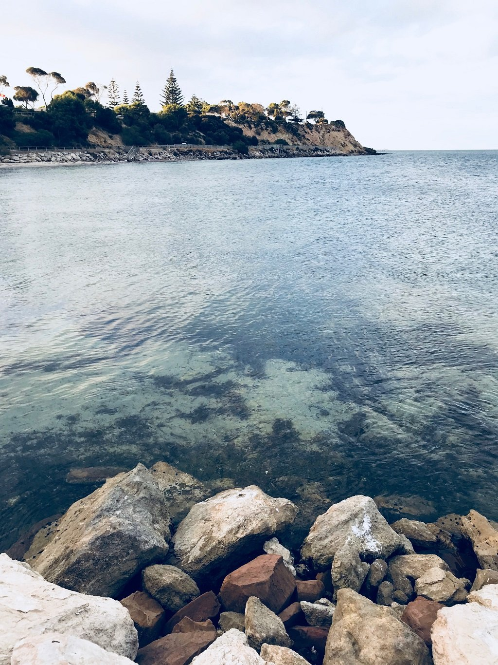 clear sea and pebbles in Kingscote
