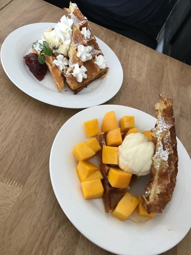 Breakfast waffles with fruit