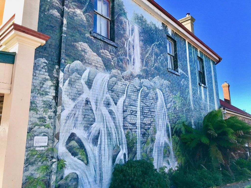 cascading waterfall mural