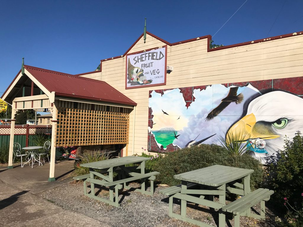 Local grocery school with murals depicting eagles covering its frontage