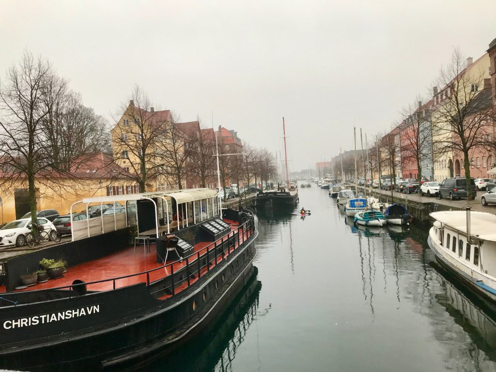 Barges along a Danish canal