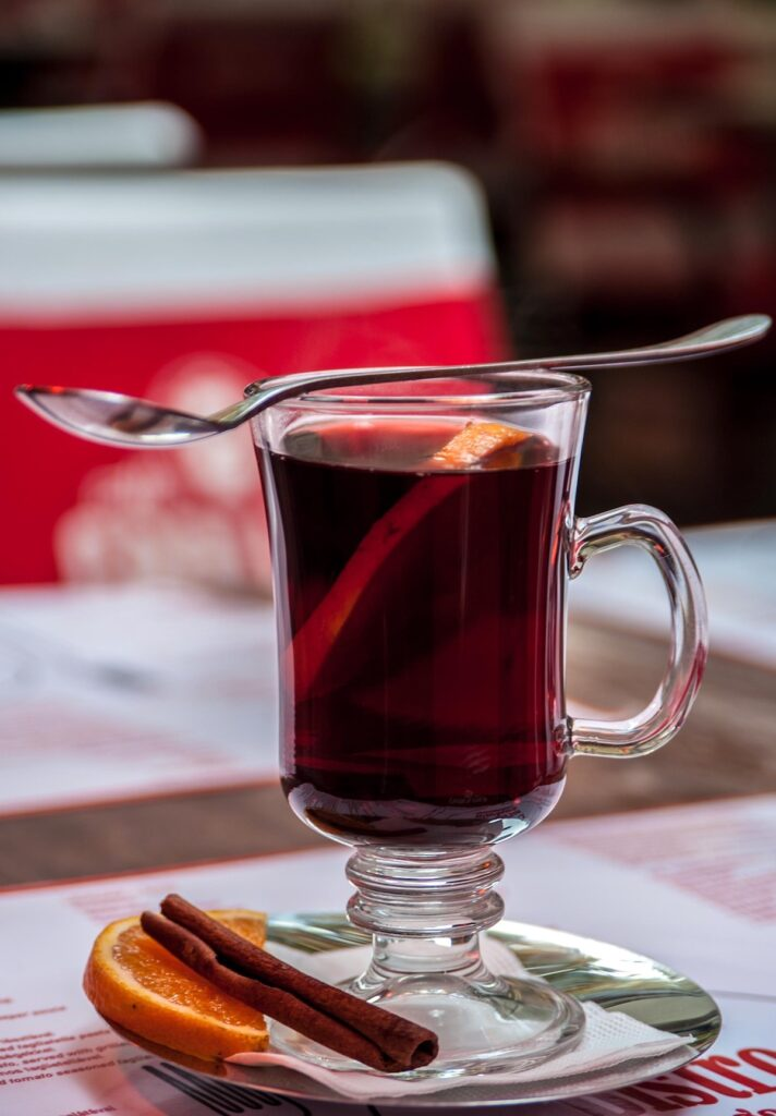 A glass of Glogg red wine drink