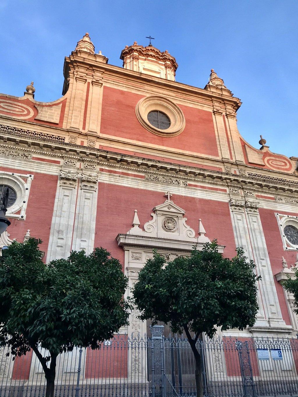 Pink facade of the church of el Salvador