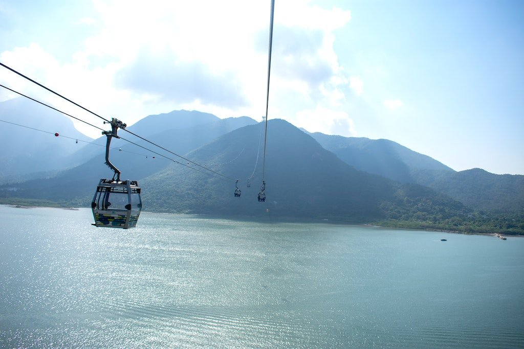 cable car descending over water