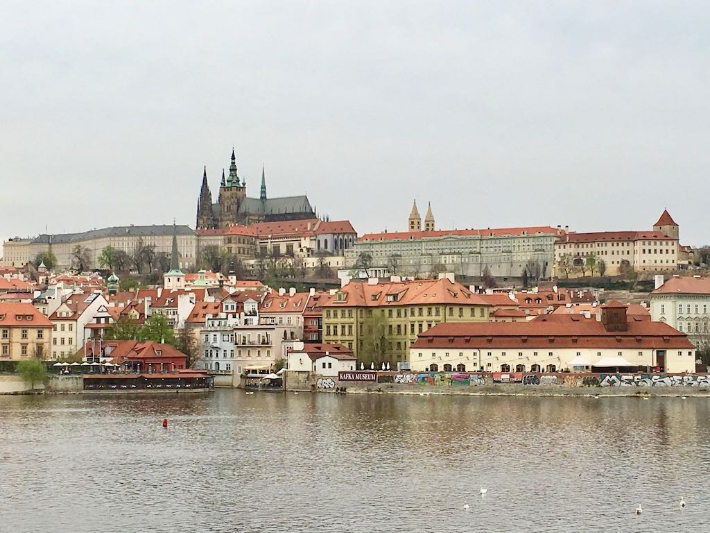 View of Prague castle and river
