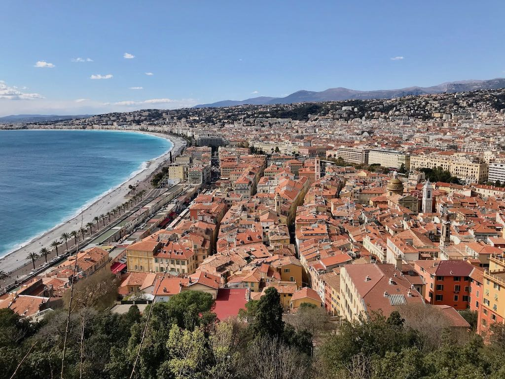 A city break in Nice town and beach viewed from above