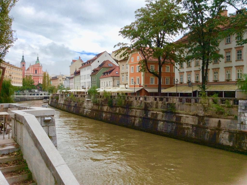 View of a river running through Ljubljana