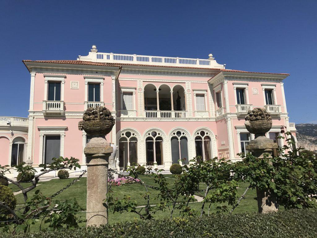 pink facade of villa Ephrussi