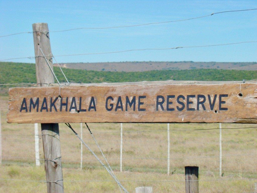Sign saying Amakhala Game Reserve