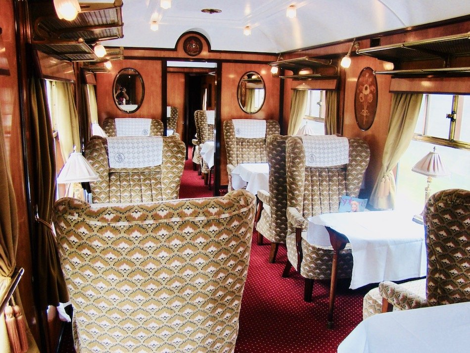 interior dining carriage aboard the Belmond