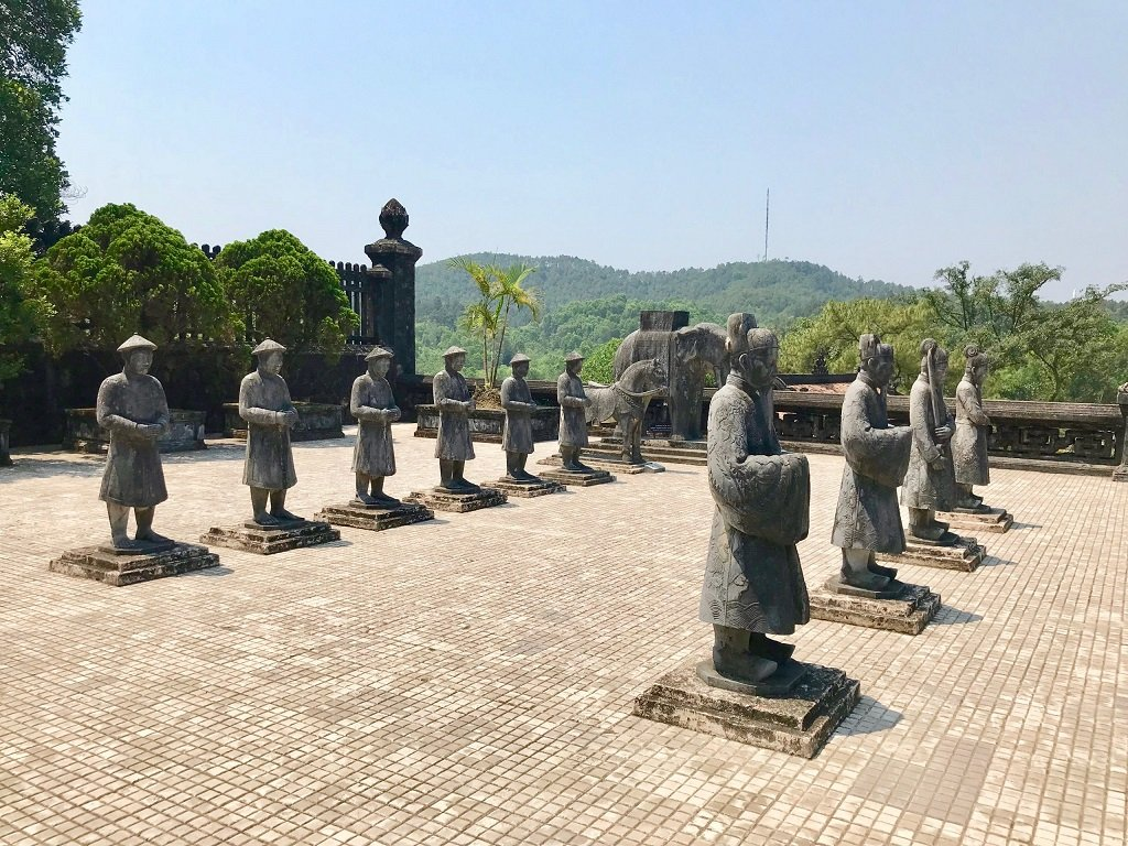 Stone statues in the Royal tombs in Hue