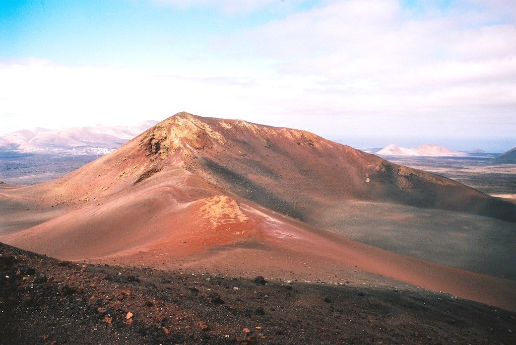 Aerial view of red mountains in Lanzarote