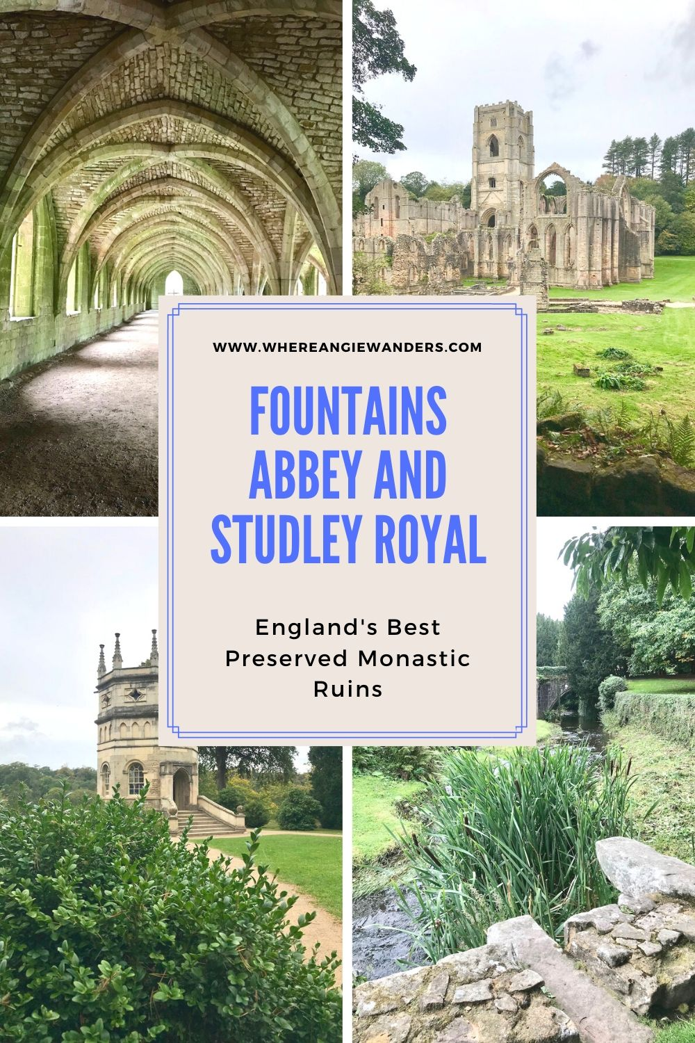A Pinterest graphic depicting Fountains Abbey
