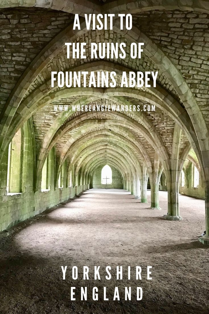 Pinterest Graphic showing the chapel at fountains abbey