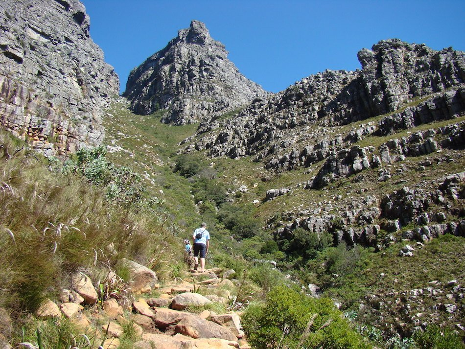 A boy hiking Table Mountain