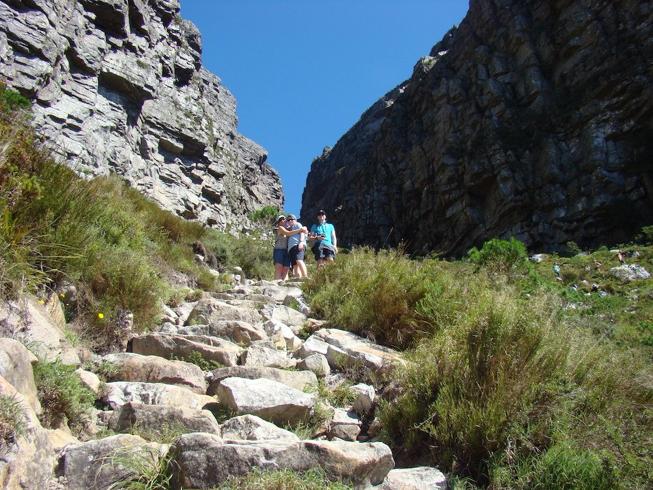 a family standing on Table Mountain