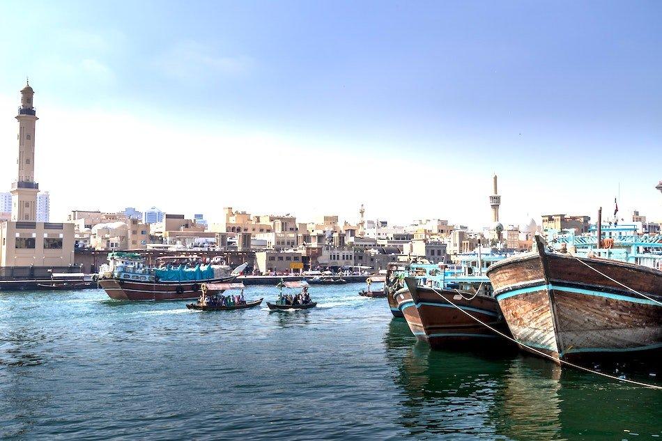 Boats along Dubai creek