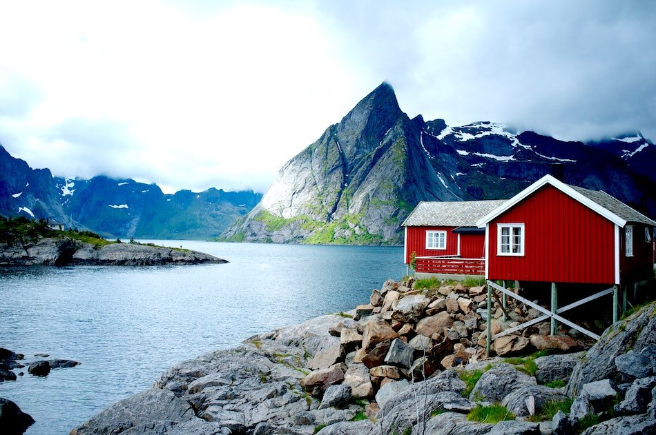 Fisherman's Hut on the edge of a lake in Norway