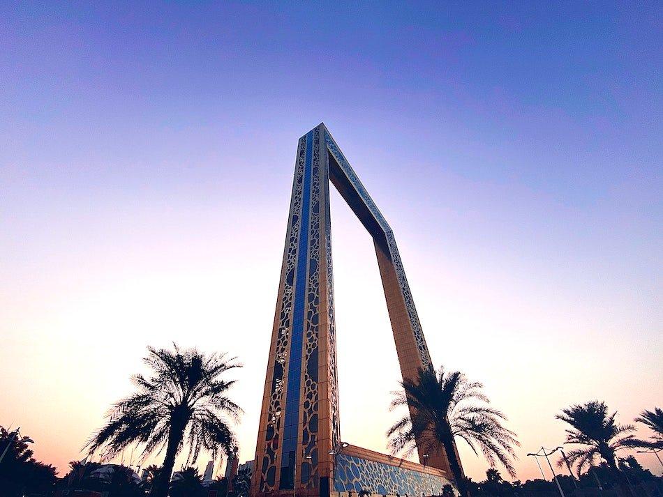 Dubai Frame at sunset