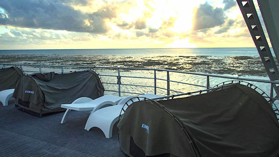 tents on a pontoon in the Great Barrier Reef